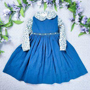 Strasburg toddler girl warm blue corduroy floral jumper dress set